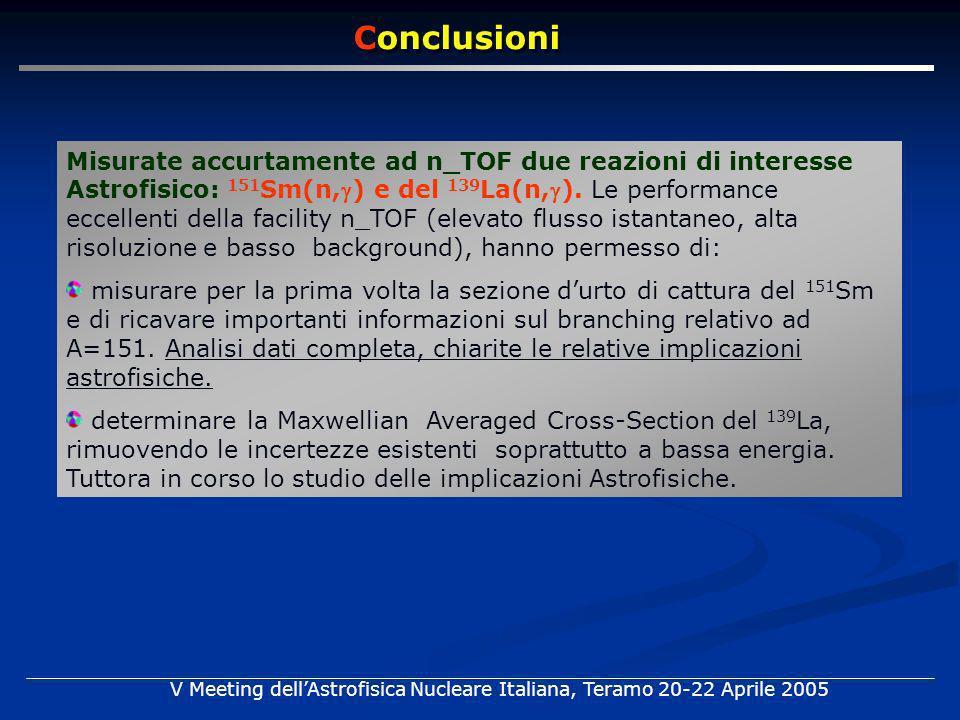 Misurate accurtamente ad n_TOF due reazioni di interesse Astrofisico: 151 Sm(n,) e del 139 La(n,). Le performance eccellenti della facility n_TOF (ele