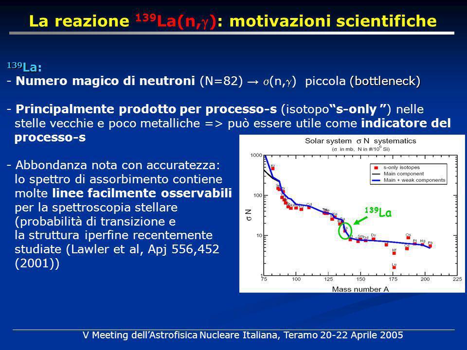 139 La 139 La 139 La: (bottleneck) - Numero magico di neutroni (N=82) (n,) piccola (bottleneck) - Principalmente prodotto per processo-s (isotopos-only ) nelle stelle vecchie e poco metalliche => può essere utile come indicatore del processo-s - Abbondanza nota con accuratezza: lo spettro di assorbimento contiene molte linee facilmente osservabili per la spettroscopia stellare (probabilità di transizione e la struttura iperfine recentemente studiate (Lawler et al, Apj 556,452 (2001)) La reazione 139 La(n,): motivazioni scientifiche V Meeting dellAstrofisica Nucleare Italiana, Teramo 20-22 Aprile 2005