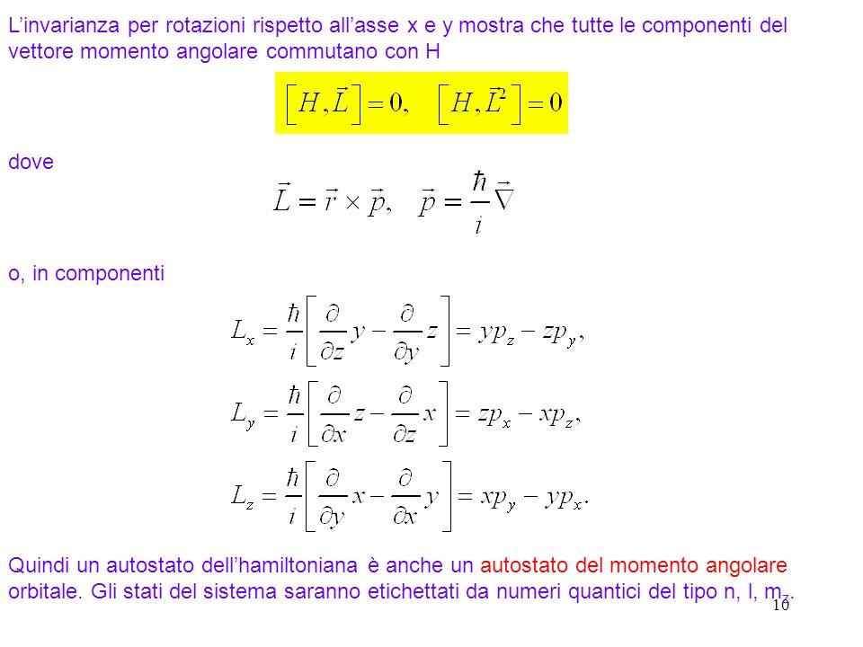 10 Linvarianza per rotazioni rispetto allasse x e y mostra che tutte le componenti del vettore momento angolare commutano con H dove o, in componenti
