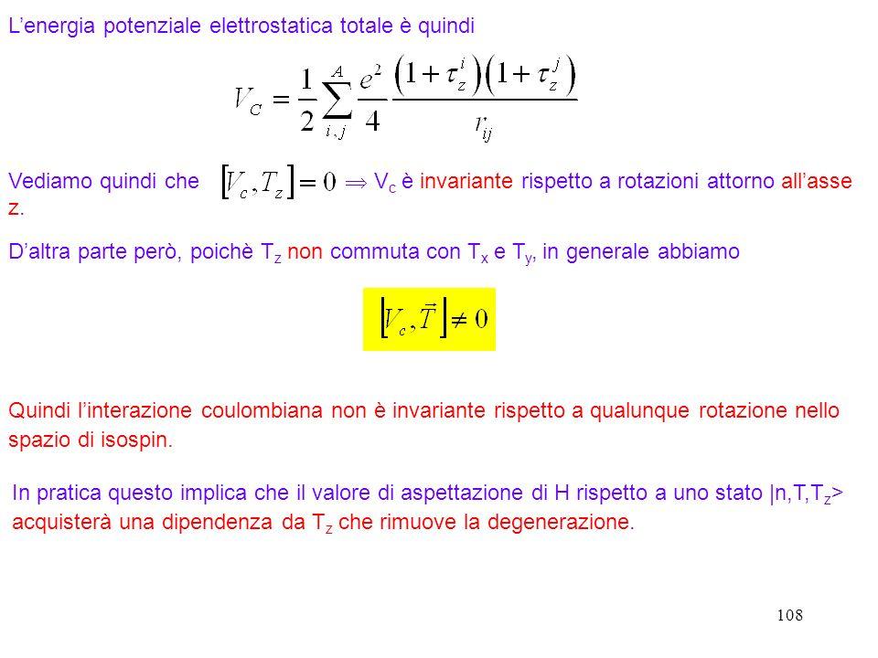 108 Lenergia potenziale elettrostatica totale è quindi Vediamo quindi che V c è invariante rispetto a rotazioni attorno allasse z. Daltra parte però,