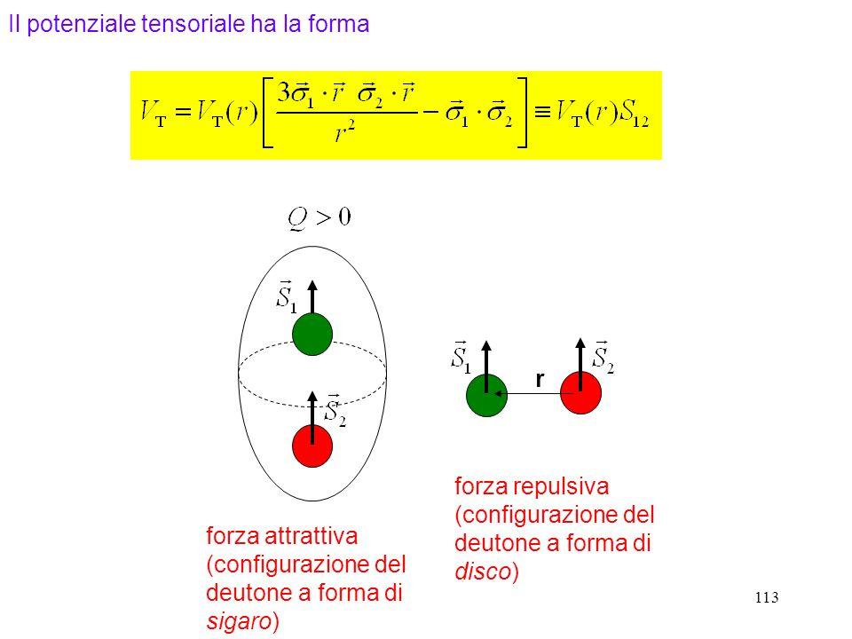 113 r forza attrattiva (configurazione del deutone a forma di sigaro) forza repulsiva (configurazione del deutone a forma di disco) Il potenziale tens