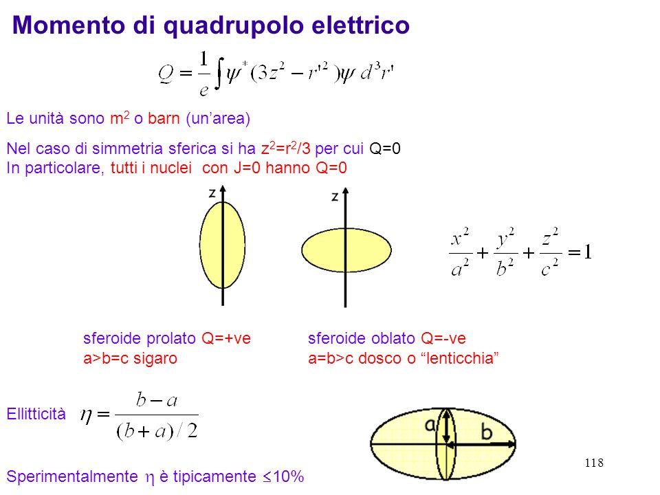 118 Le unità sono m 2 o barn (unarea) Nel caso di simmetria sferica si ha z 2 =r 2 /3 per cui Q=0 In particolare, tutti i nuclei con J=0 hanno Q=0 Mom