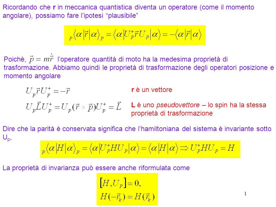 122 Ricordando che r in meccanica quantistica diventa un operatore (come il momento angolare), possiamo fare lipotesi plausibile r è un vettore L è un