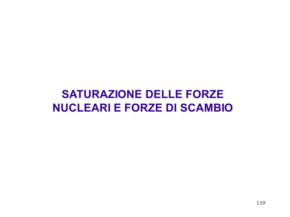 139 SATURAZIONE DELLE FORZE NUCLEARI E FORZE DI SCAMBIO