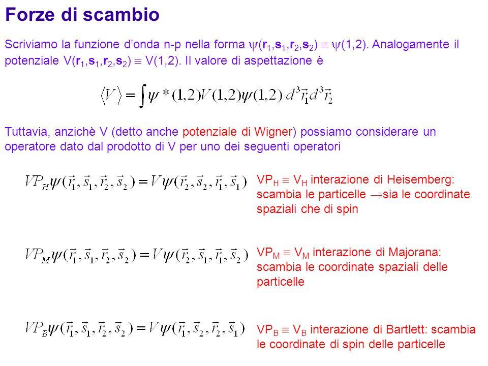 142 Scriviamo la funzione donda n-p nella forma (r 1,s 1,r 2,s 2 ) (1,2). Analogamente il potenziale V(r 1,s 1,r 2,s 2 ) V(1,2). Il valore di aspettaz