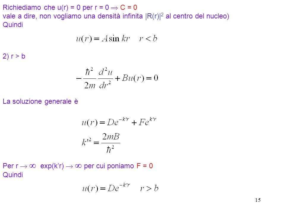 15 Richiediamo che u(r) = 0 per r = 0 C = 0 vale a dire, non vogliamo una densità infinita |R(r)| 2 al centro del nucleo) Quindi 2) r > b La soluzione