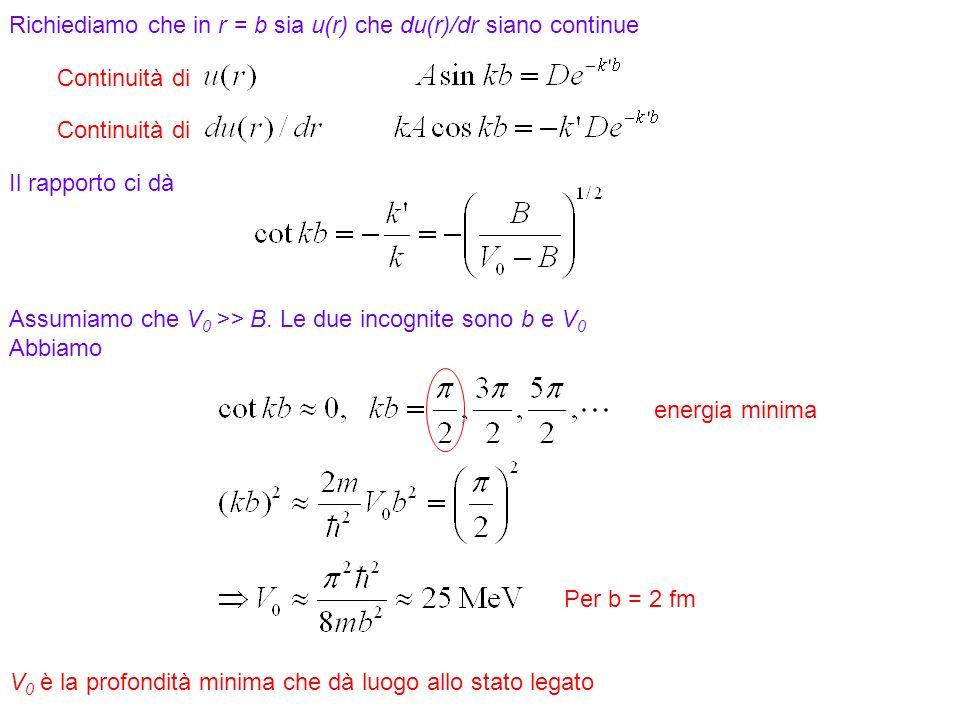 16 Richiediamo che in r = b sia u(r) che du(r)/dr siano continue Il rapporto ci dà Assumiamo che V 0 >> B. Le due incognite sono b e V 0 Abbiamo energ