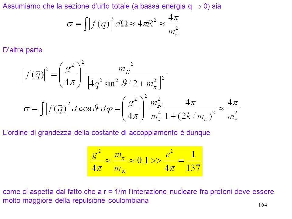 164 Assumiamo che la sezione durto totale (a bassa energia q 0) sia Daltra parte Lordine di grandezza della costante di accoppiamento è dunque come ci