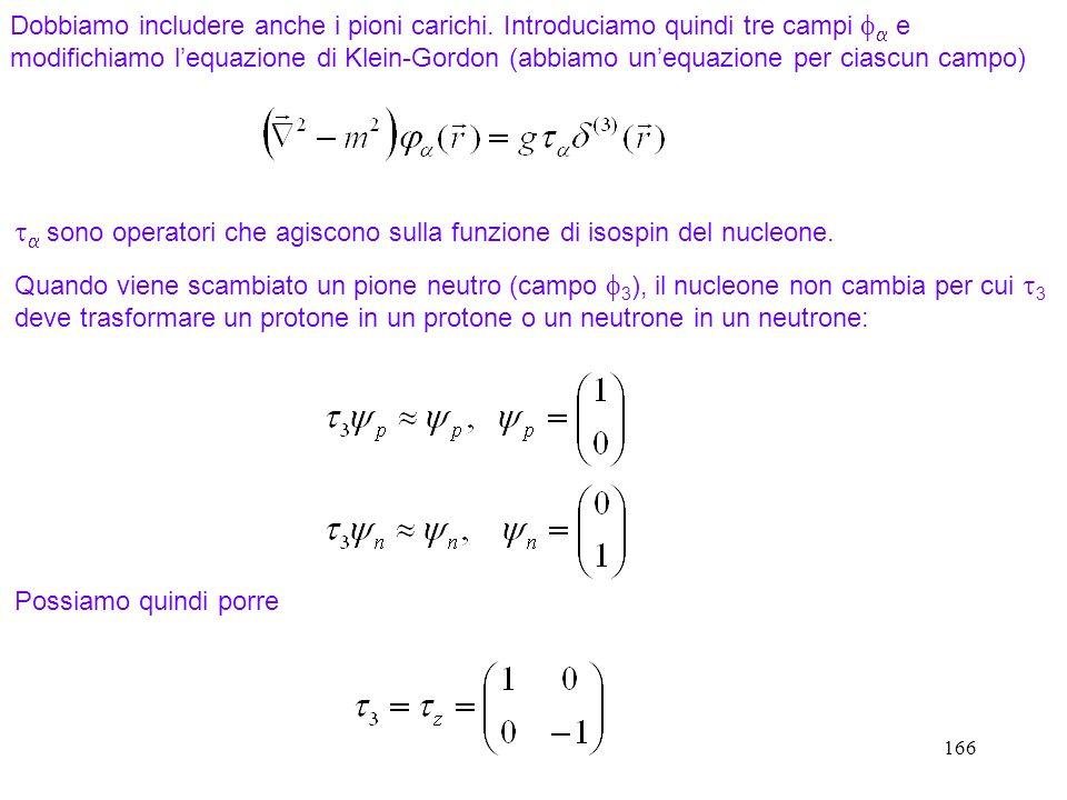 166 Dobbiamo includere anche i pioni carichi. Introduciamo quindi tre campi e modifichiamo lequazione di Klein-Gordon (abbiamo unequazione per ciascun