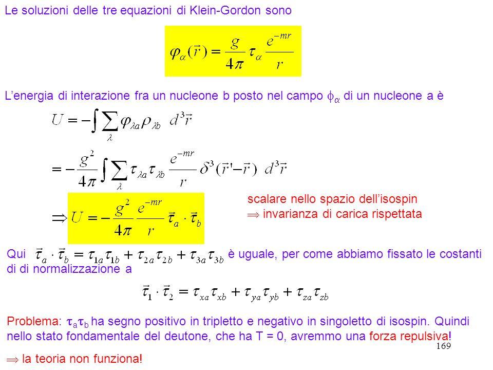 169 Le soluzioni delle tre equazioni di Klein-Gordon sono Lenergia di interazione fra un nucleone b posto nel campo di un nucleone a è Qui è uguale, p
