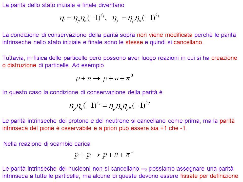 171 La parità dello stato iniziale e finale diventano Tuttavia, in fisica delle particelle però possono aver luogo reazioni in cui si ha creazione o d