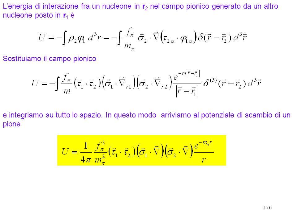 176 Lenergia di interazione fra un nucleone in r 2 nel campo pionico generato da un altro nucleone posto in r 1 è e integriamo su tutto lo spazio. In