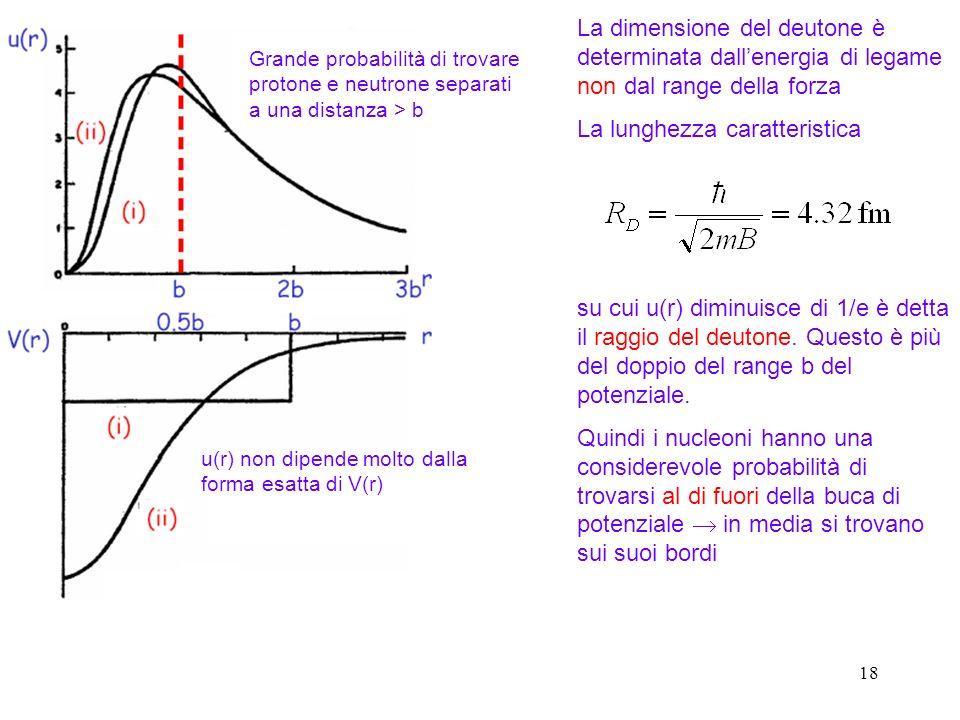 18 Grande probabilità di trovare protone e neutrone separati a una distanza > b u(r) non dipende molto dalla forma esatta di V(r) La dimensione del de