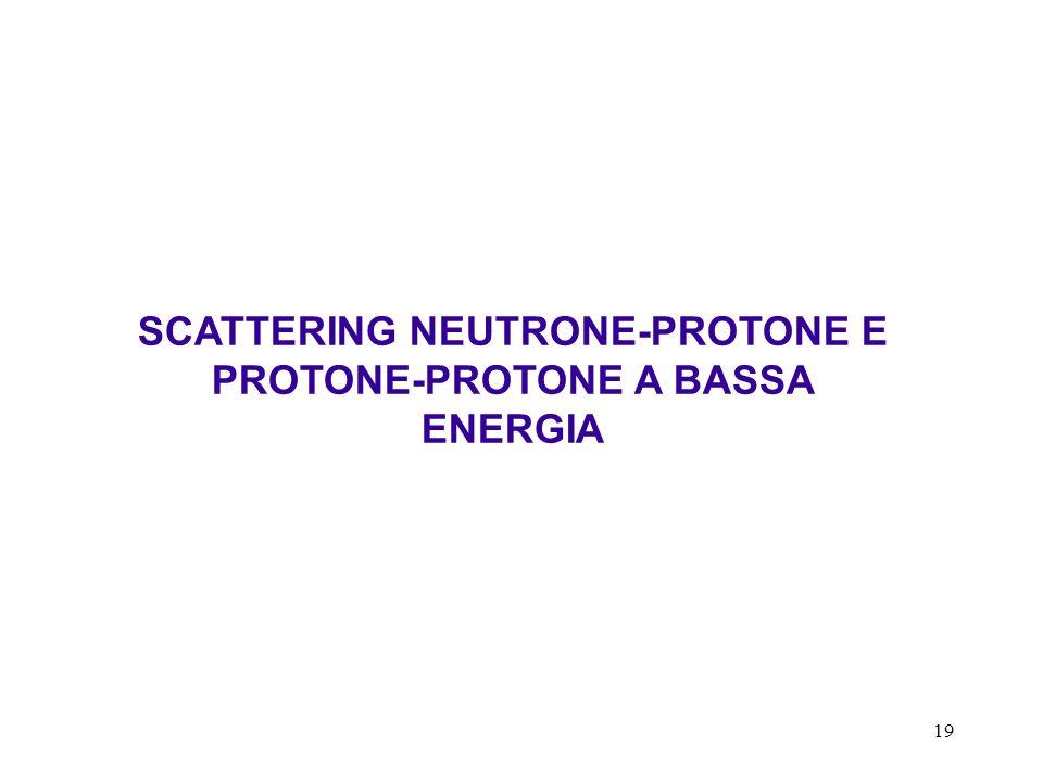 19 SCATTERING NEUTRONE-PROTONE E PROTONE-PROTONE A BASSA ENERGIA