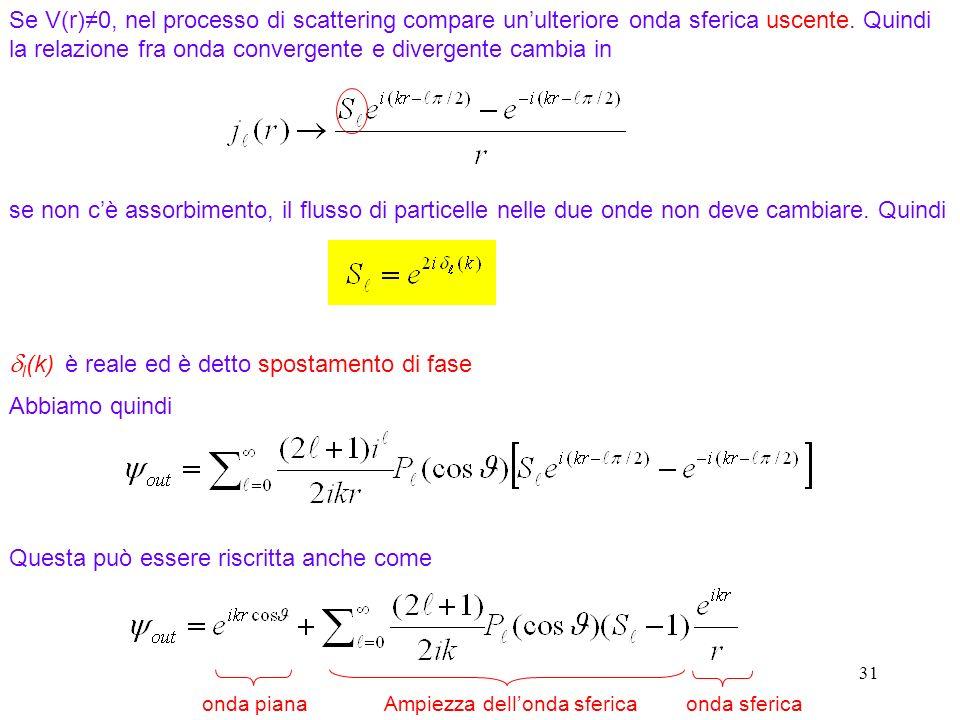 31 Se V(r)0, nel processo di scattering compare unulteriore onda sferica uscente. Quindi la relazione fra onda convergente e divergente cambia in se n