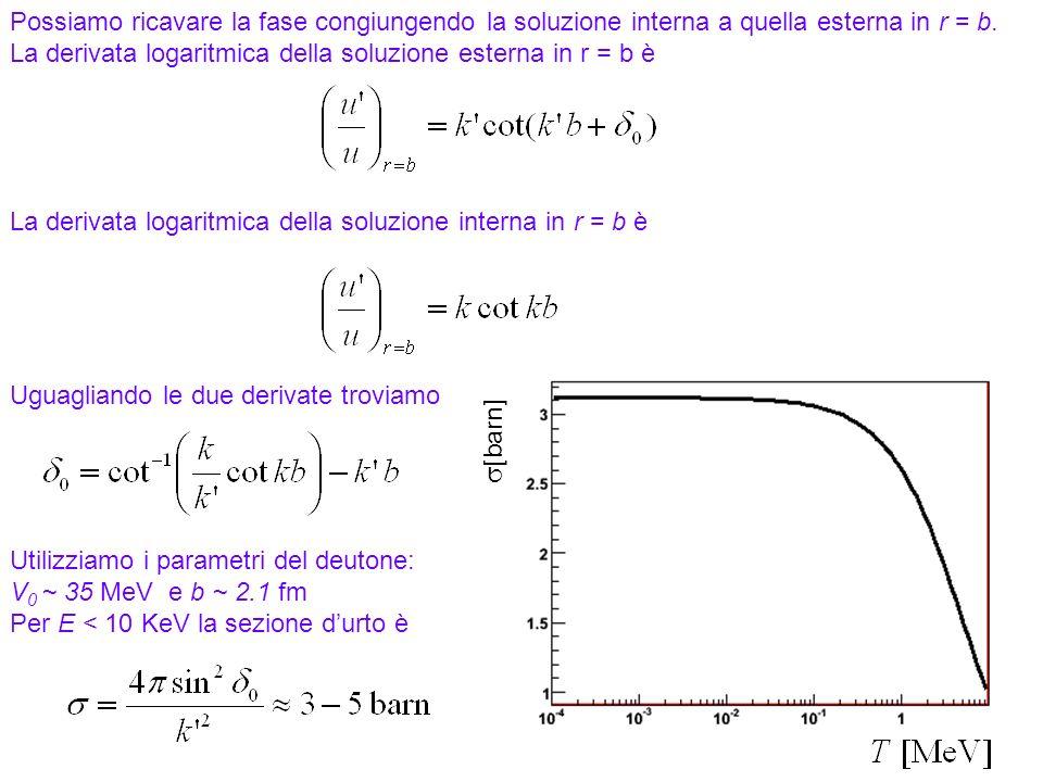 39 Possiamo ricavare la fase congiungendo la soluzione interna a quella esterna in r = b. La derivata logaritmica della soluzione esterna in r = b è L