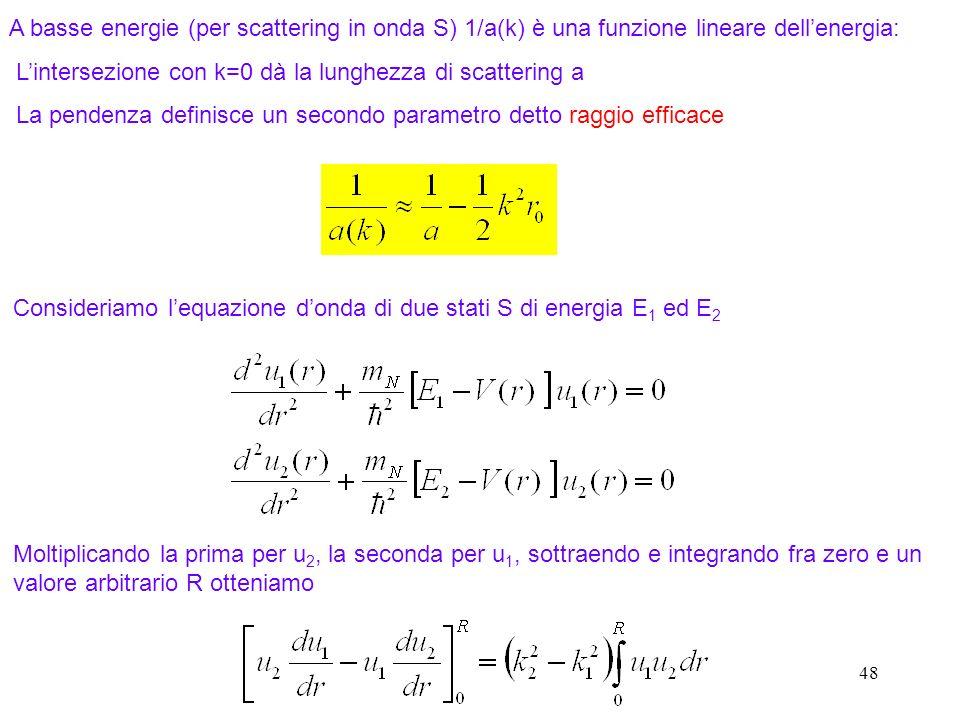 48 A basse energie (per scattering in onda S) 1/a(k) è una funzione lineare dellenergia: Lintersezione con k=0 dà la lunghezza di scattering a La pend