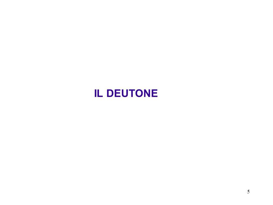 6 Caratteristiche generali del deutone ( 2 H o 2 D) Il deutone è il solo stato legato a due nucleoni (n-p).