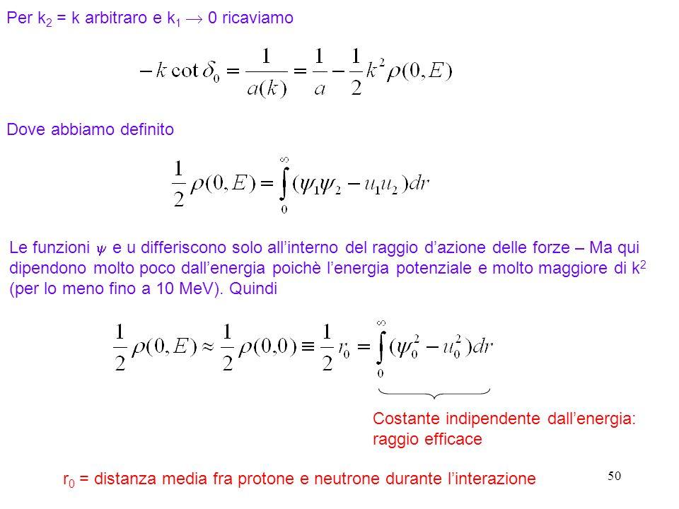 50 Per k 2 = k arbitraro e k 1 0 ricaviamo Dove abbiamo definito Le funzioni e u differiscono solo allinterno del raggio dazione delle forze – Ma qui
