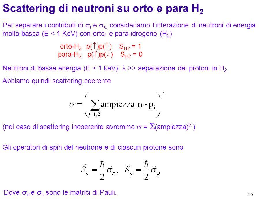 55 Scattering di neutroni su orto e para H 2 Per separare i contributi di t e s, consideriamo linterazione di neutroni di energia molto bassa (E < 1 K