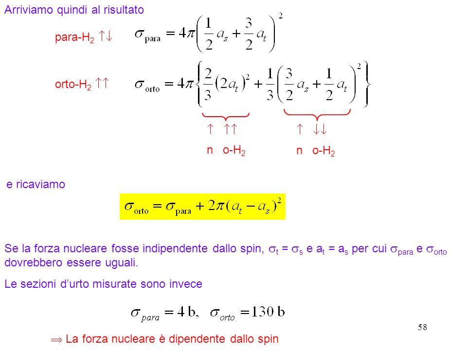 58 Arriviamo quindi al risultato para-H 2 orto-H 2 n o-H 2 Se la forza nucleare fosse indipendente dallo spin, t = s e a t = a s per cui para e orto d