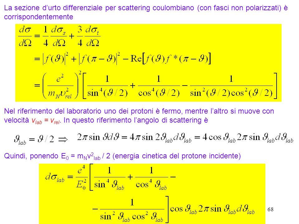68 La sezione durto differenziale per scattering coulombiano (con fasci non polarizzati) è corrispondentemente Nel riferimento del laboratorio uno dei