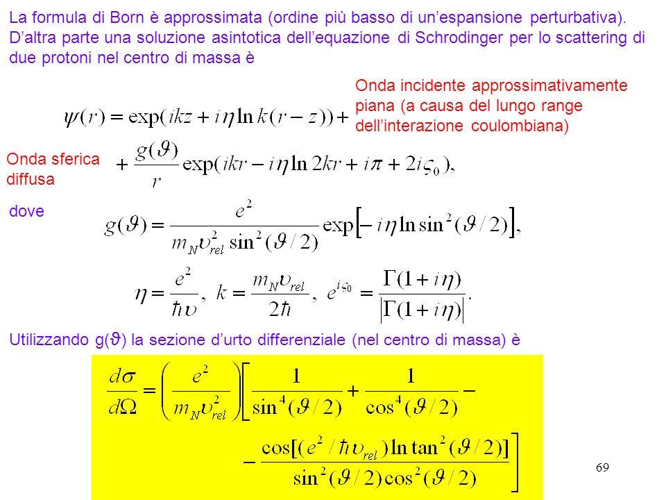 69 La formula di Born è approssimata (ordine più basso di unespansione perturbativa). Daltra parte una soluzione asintotica dellequazione di Schroding
