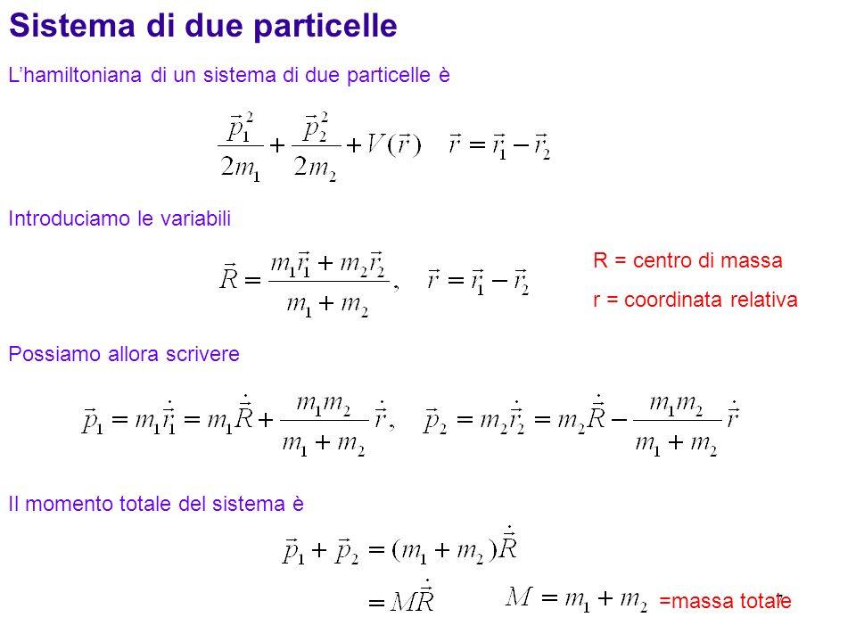 8 Lenergia cinetica totale è Abbiamo lequazione di Schrodinger per il moto relativo attorno al centro di massa Consideriamo un potenziale centrale Il sistema è invariante per rotazioni consideriamo ad esempio una rotazione infinitesima attorno allasse z M=massa totale m = massa ridotta E Eq.