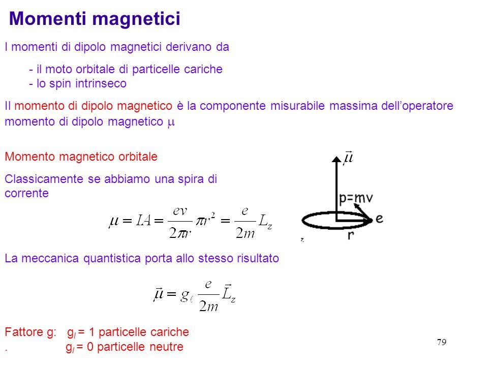79 I momenti di dipolo magnetici derivano da - il moto orbitale di particelle cariche - lo spin intrinseco Il momento di dipolo magnetico è la compone