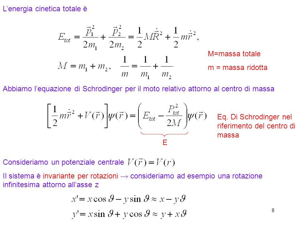 8 Lenergia cinetica totale è Abbiamo lequazione di Schrodinger per il moto relativo attorno al centro di massa Consideriamo un potenziale centrale Il
