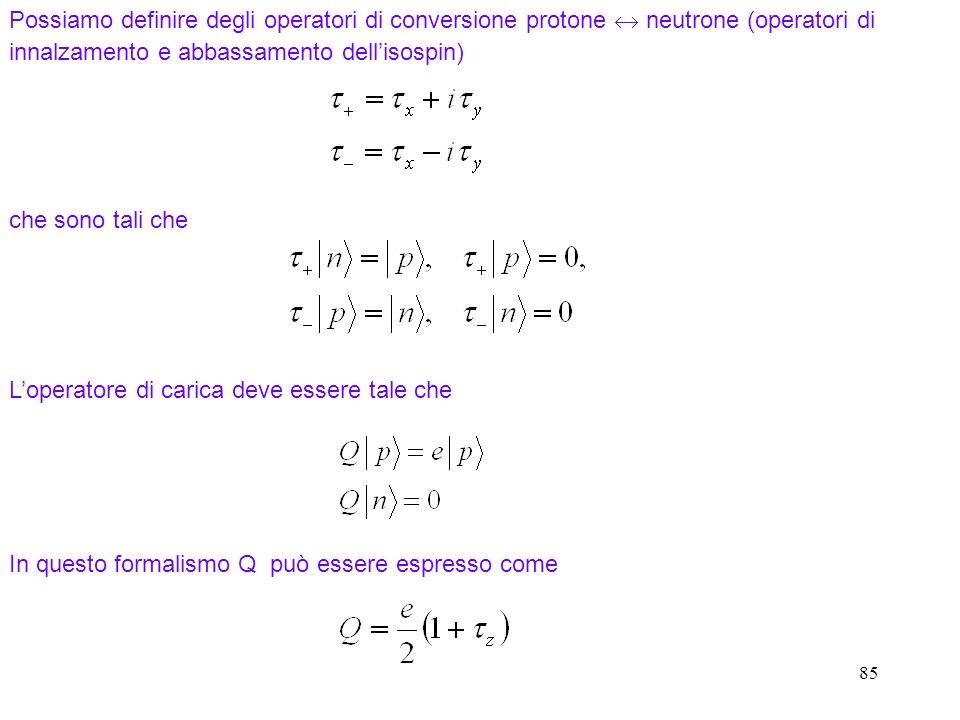 85 Possiamo definire degli operatori di conversione protone neutrone (operatori di innalzamento e abbassamento dellisospin) che sono tali che In quest
