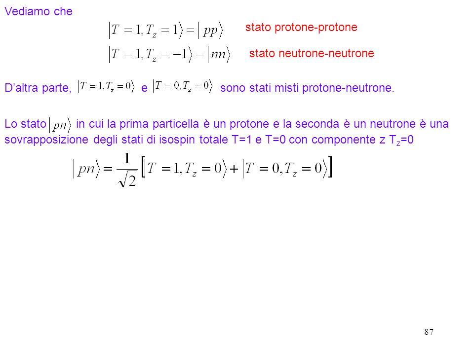 87 Vediamo che Daltra parte, e sono stati misti protone-neutrone. Lo stato in cui la prima particella è un protone e la seconda è un neutrone è una so