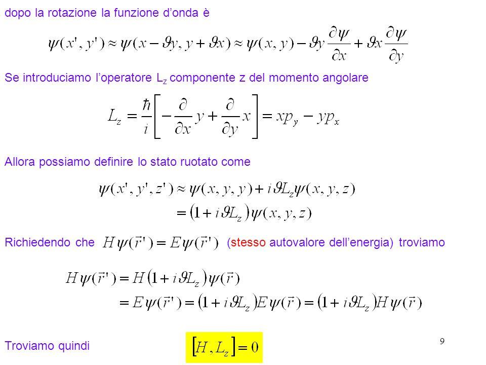 10 Linvarianza per rotazioni rispetto allasse x e y mostra che tutte le componenti del vettore momento angolare commutano con H dove o, in componenti Quindi un autostato dellhamiltoniana è anche un autostato del momento angolare orbitale.