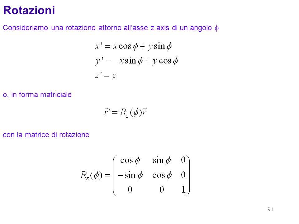 91 Consideriamo una rotazione attorno allasse z axis di un angolo Rotazioni o, in forma matriciale con la matrice di rotazione
