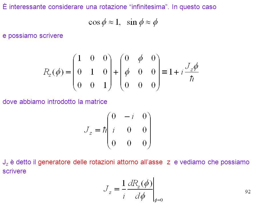 92 È interessante considerare una rotazione infinitesima. In questo caso dove abbiamo introdotto la matrice e possiamo scrivere J z è detto il generat