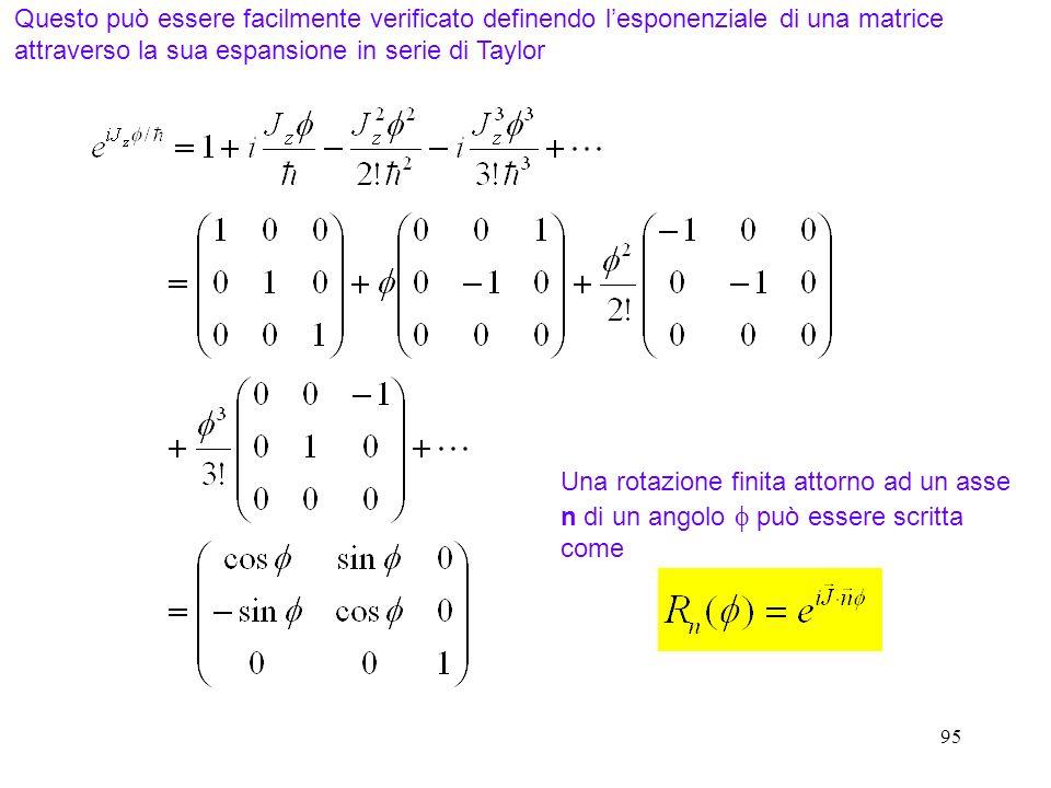 95 Questo può essere facilmente verificato definendo lesponenziale di una matrice attraverso la sua espansione in serie di Taylor Una rotazione finita