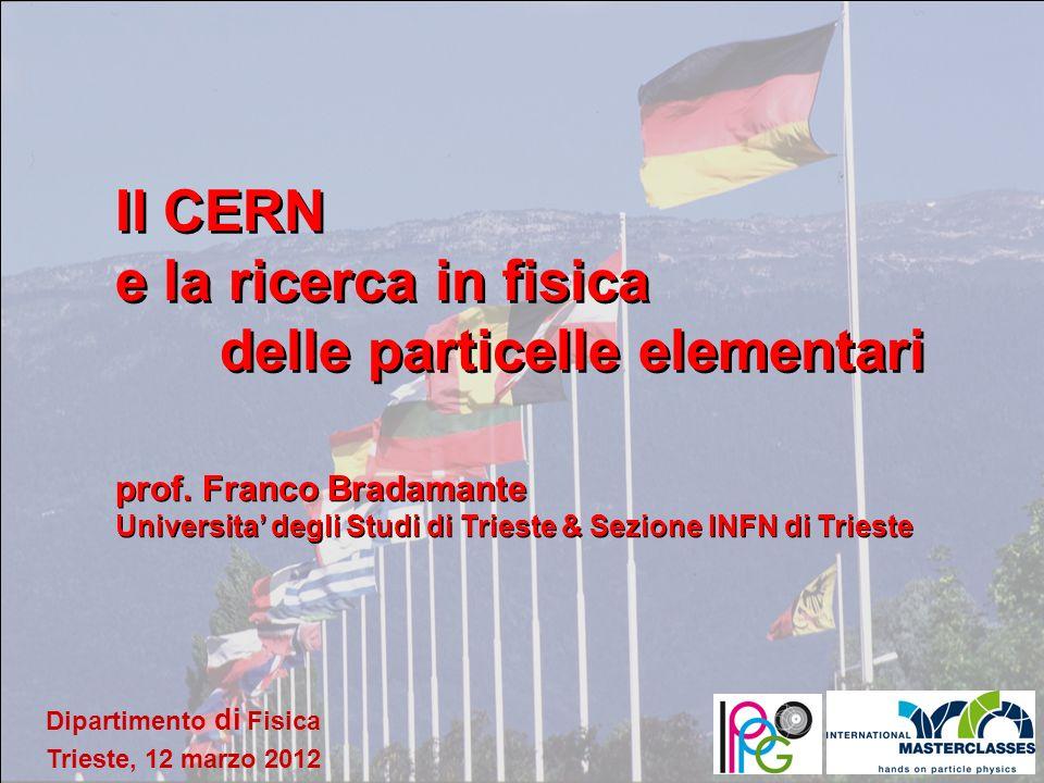Franco Bradamante, 12 marzo 2012 Dipartimento di Fisica Trieste, 12 marzo 2012 Il CERN e la ricerca in fisica delle particelle elementari prof. Franco