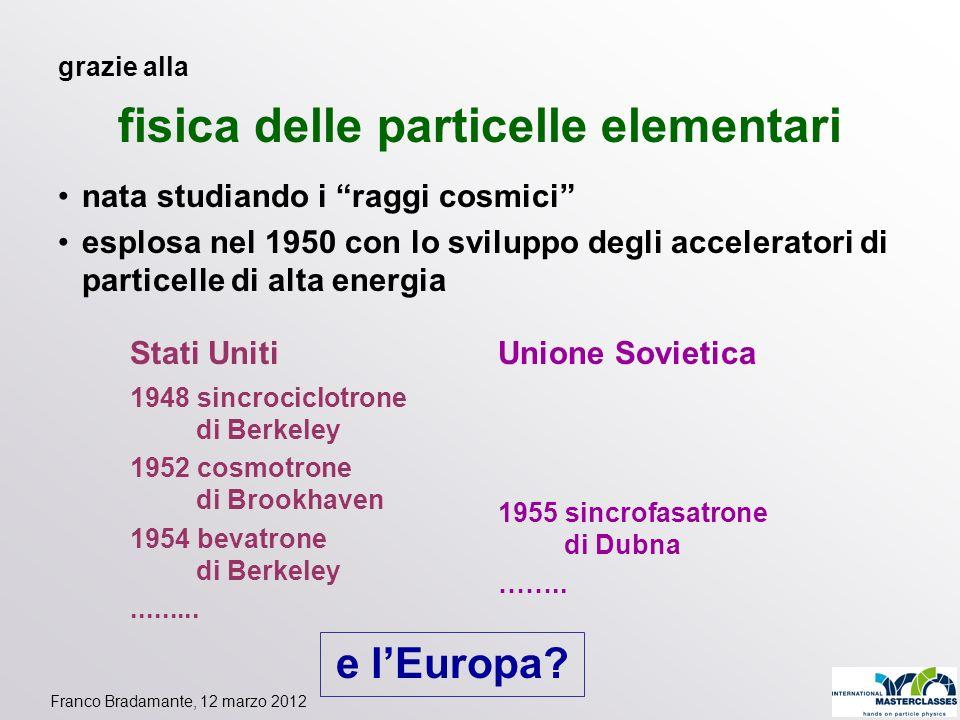Franco Bradamante, 12 marzo 2012 grazie alla fisica delle particelle elementari nata studiando i raggi cosmici esplosa nel 1950 con lo sviluppo degli