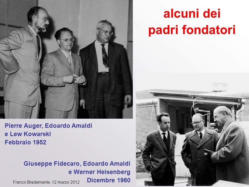 Franco Bradamante, 12 marzo 2012 alcuni dei padri fondatori Giuseppe Fidecaro, Edoardo Amaldi e Werner Heisenberg Dicembre 1960 Pierre Auger, Edoardo