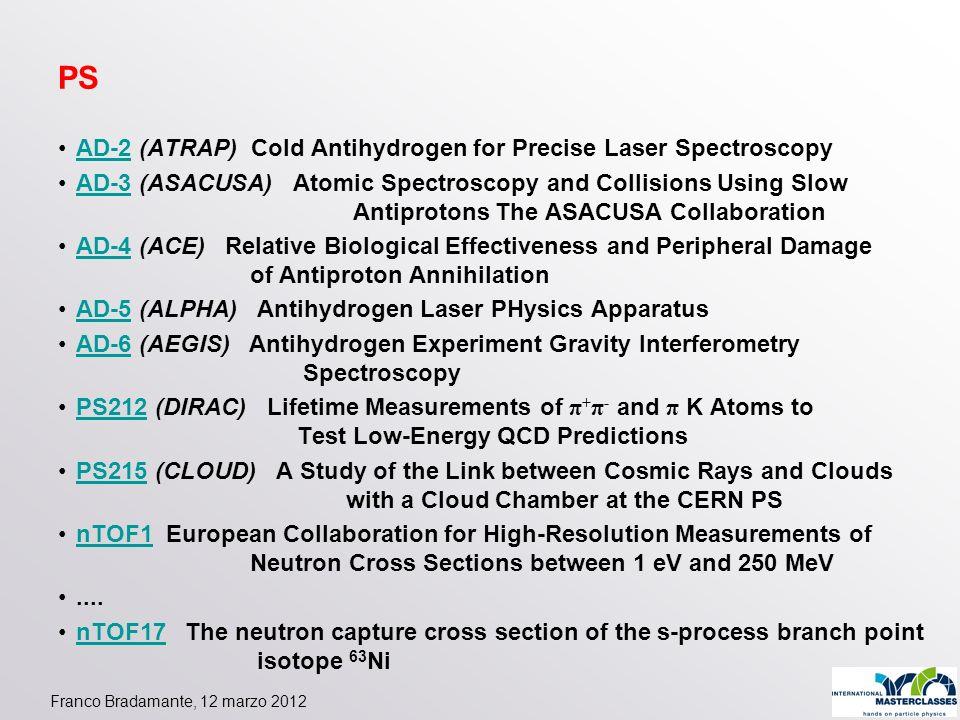 Franco Bradamante, 12 marzo 2012 PS AD-2 (ATRAP) Cold Antihydrogen for Precise Laser SpectroscopyAD-2 AD-3 (ASACUSA) Atomic Spectroscopy and Collision
