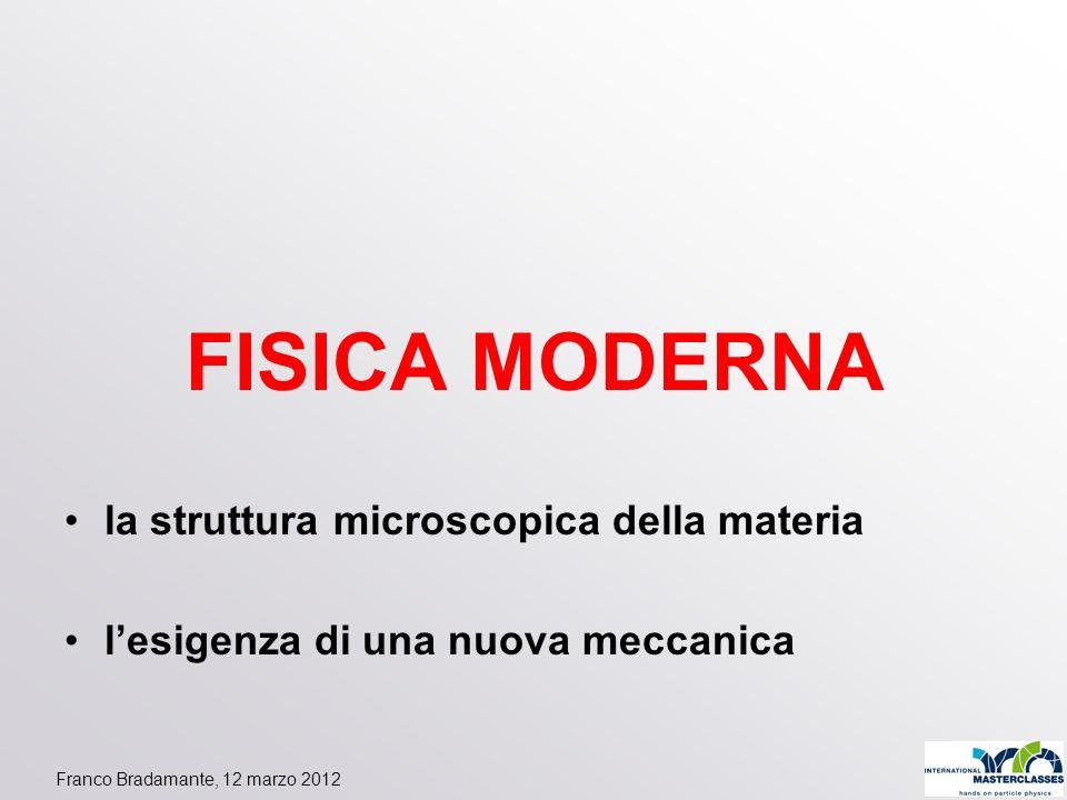 Franco Bradamante, 12 marzo 2012 FISICA MODERNA la struttura microscopica della materia lesigenza di una nuova meccanica