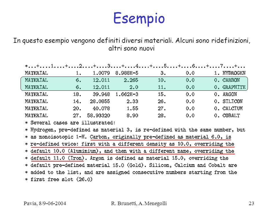 Pavia, 8/9-06-2004R. Brunetti, A. Menegolli23 Esempio In questo esempio vengono definiti diversi materiali. Alcuni sono ridefinizioni, altri sono nuov