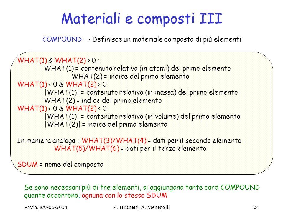 Pavia, 8/9-06-2004R. Brunetti, A. Menegolli24 Materiali e composti III COMPOUND Definisce un materiale composto di più elementi WHAT(1) & WHAT(2) > 0
