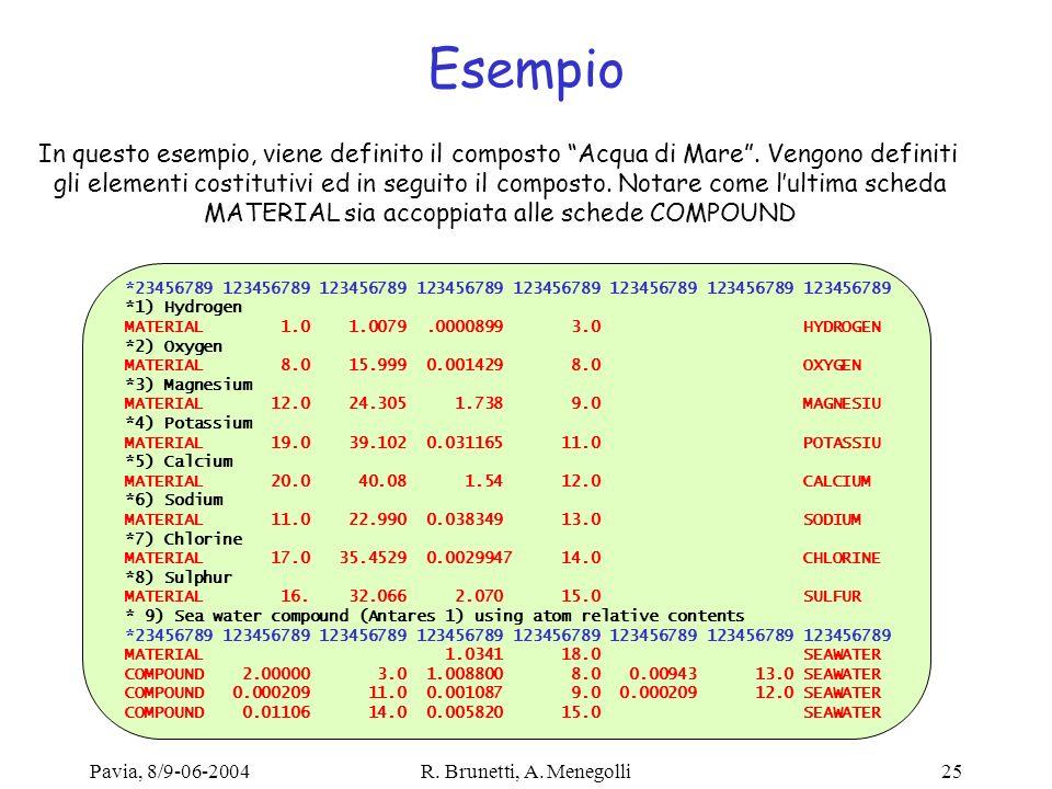 Pavia, 8/9-06-2004R. Brunetti, A. Menegolli25 Esempio *23456789 123456789 123456789 123456789 123456789 123456789 123456789 123456789 *1) Hydrogen MAT