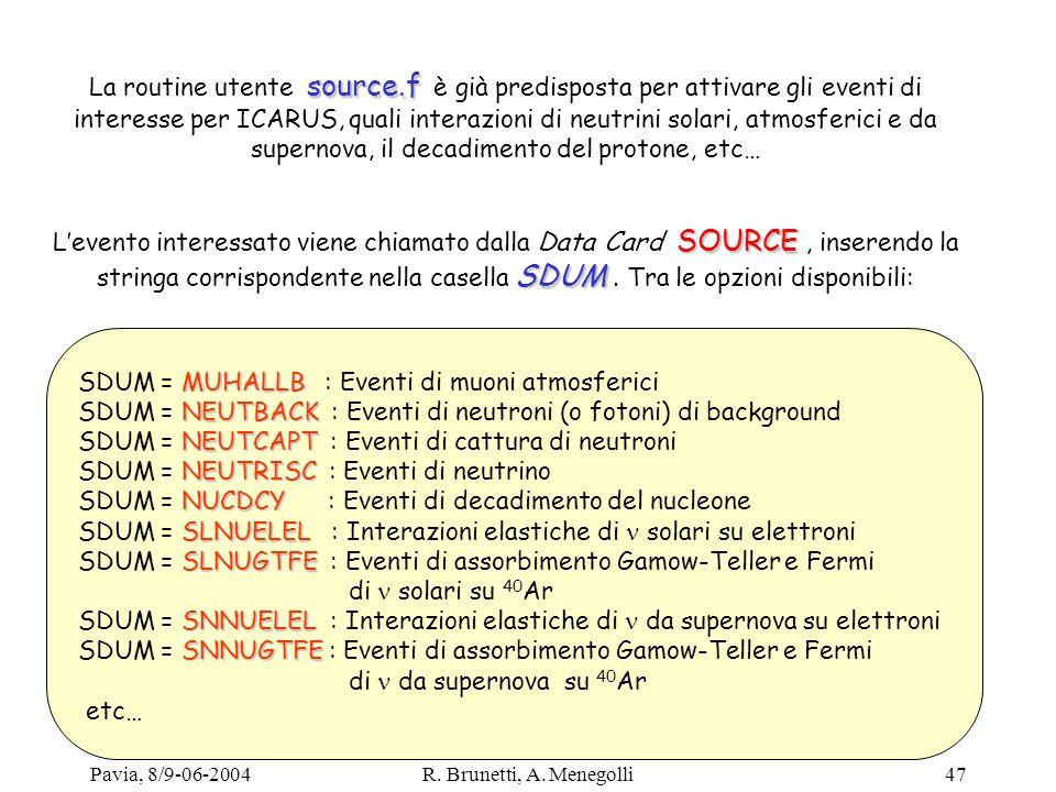 Pavia, 8/9-06-2004R. Brunetti, A. Menegolli47 source.f La routine utente source.f è già predisposta per attivare gli eventi di interesse per ICARUS, q