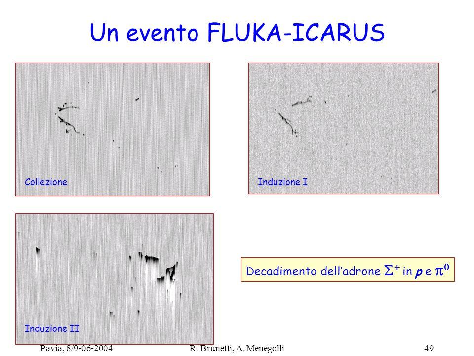 Pavia, 8/9-06-2004R. Brunetti, A. Menegolli49 Un evento FLUKA-ICARUS Collezione Induzione I Induzione II Decadimento delladrone in p e