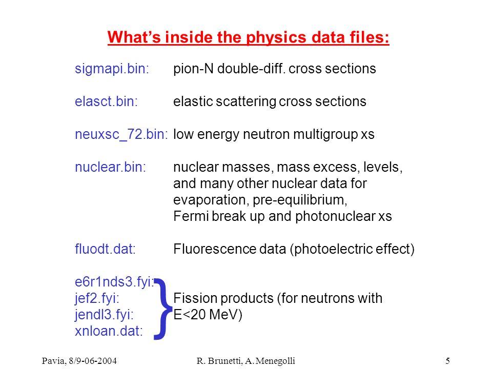 Pavia, 8/9-06-2004R. Brunetti, A. Menegolli5 Whats inside the physics data files: sigmapi.bin: pion-N double-diff. cross sections elasct.bin: elastic