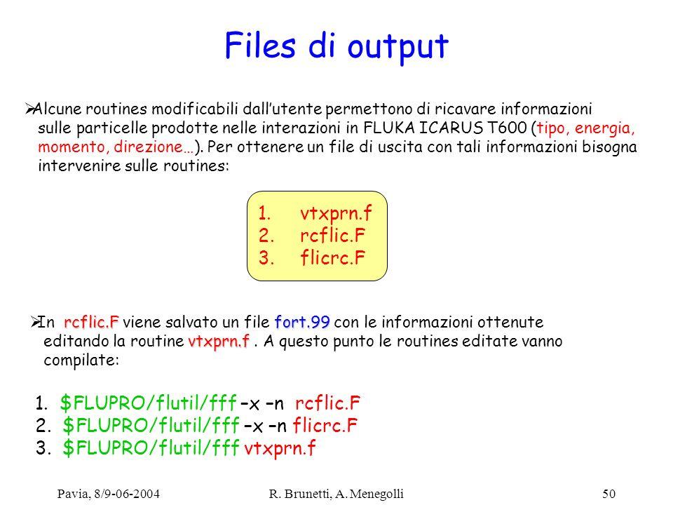 Pavia, 8/9-06-2004R. Brunetti, A. Menegolli50 Files di output Alcune routines modificabili dallutente permettono di ricavare informazioni sulle partic