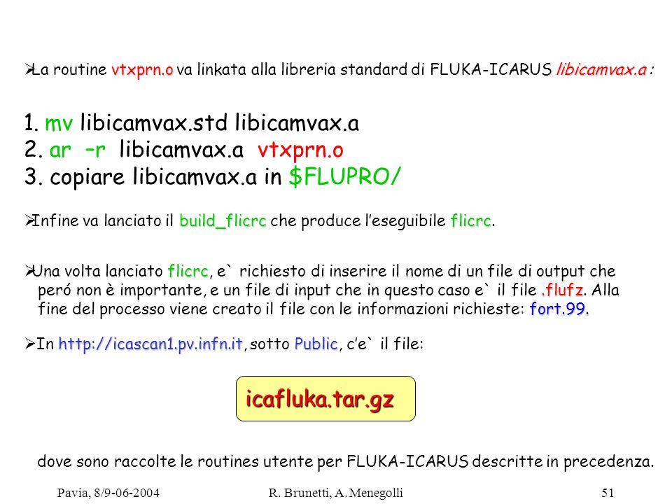 Pavia, 8/9-06-2004R. Brunetti, A. Menegolli51 vtxprn.olibicamvax.a La routine vtxprn.o va linkata alla libreria standard di FLUKA-ICARUS libicamvax.a