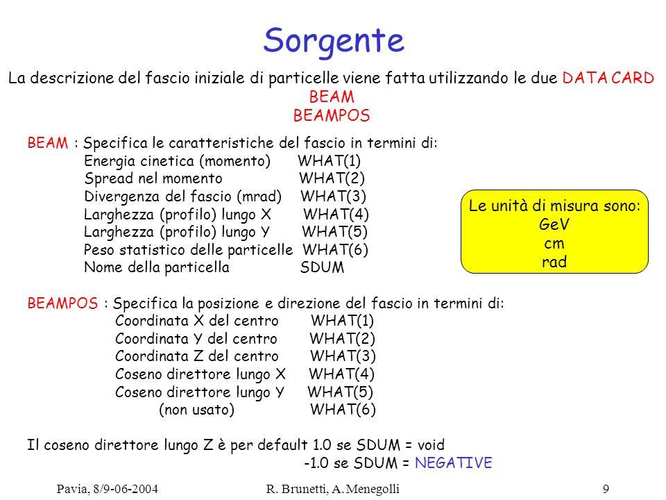Pavia, 8/9-06-2004R. Brunetti, A. Menegolli9 Sorgente La descrizione del fascio iniziale di particelle viene fatta utilizzando le due DATA CARD BEAM B